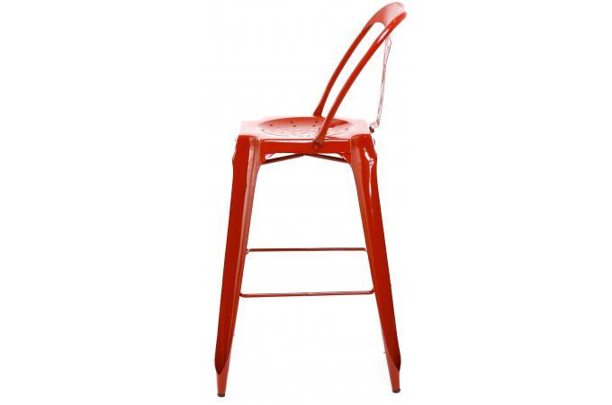 tabouret de bar industriel avec dossier rouge kirk. Black Bedroom Furniture Sets. Home Design Ideas