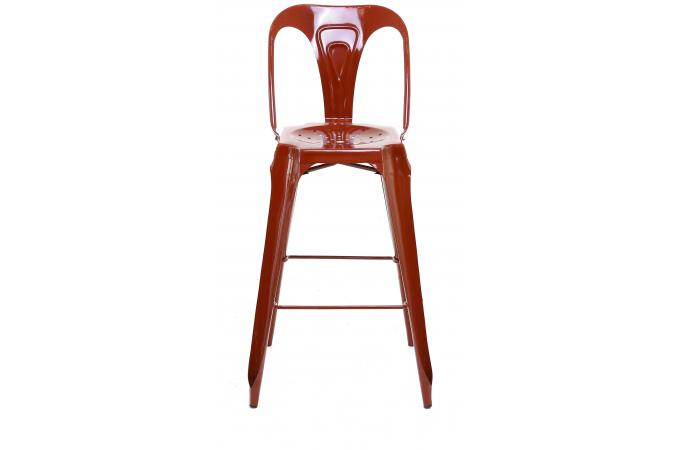 tabouret de bar industriel avec dossier rouge kirk. Black Bedroom Furniture Sets. Home Design Ideas
