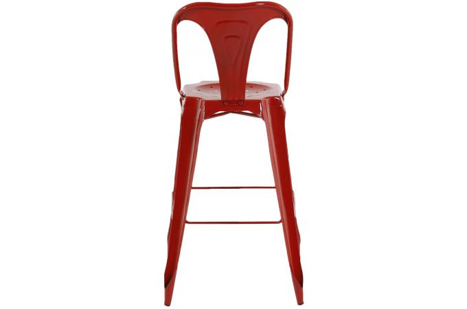 tabouret de bar industriel avec dossier rouge kirk tabouret de bar pas cher. Black Bedroom Furniture Sets. Home Design Ideas