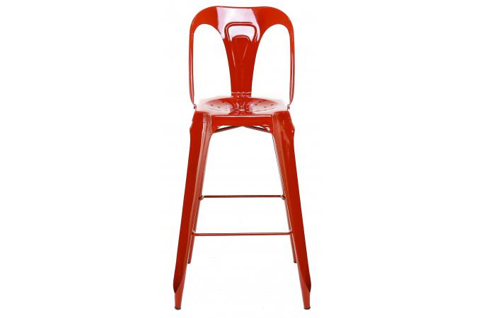 tabouret de bar industriel avec dossier rouge kirk tabouret de bar pas cher. Black Bedroom Furniture Sets. Home Design Ideas
