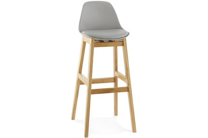 tabouret de bar pi tement bois style scandinave gris eloi. Black Bedroom Furniture Sets. Home Design Ideas