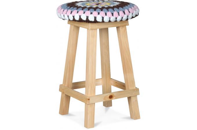 Tabouret Multicolore Crochet Rose Et Jaune En Bois D30xh45 Jamaica