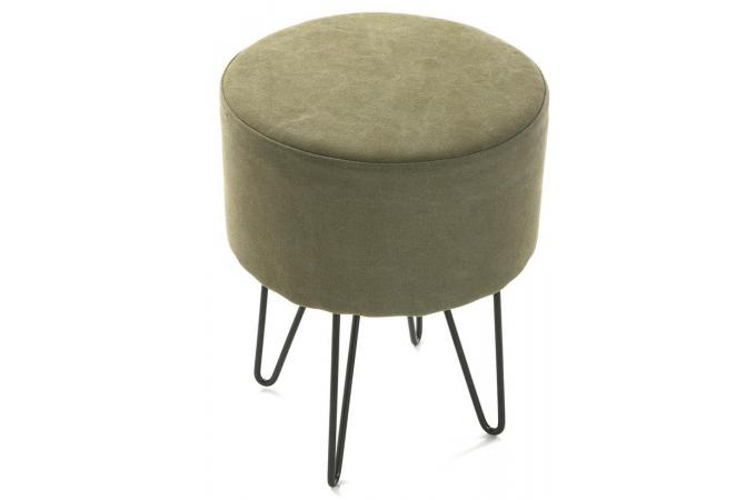 tabouret rond cm en coton vert zip petit tabouret pas cher. Black Bedroom Furniture Sets. Home Design Ideas