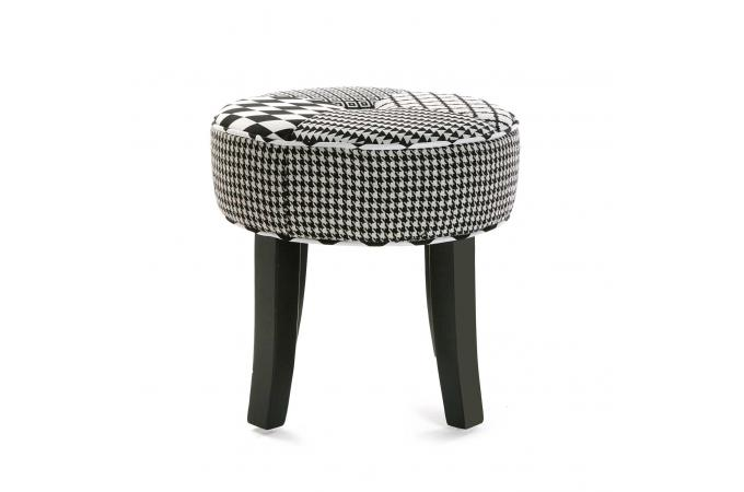 tabouret rond patchwork noir blanc harley petit tabouret pas cher. Black Bedroom Furniture Sets. Home Design Ideas