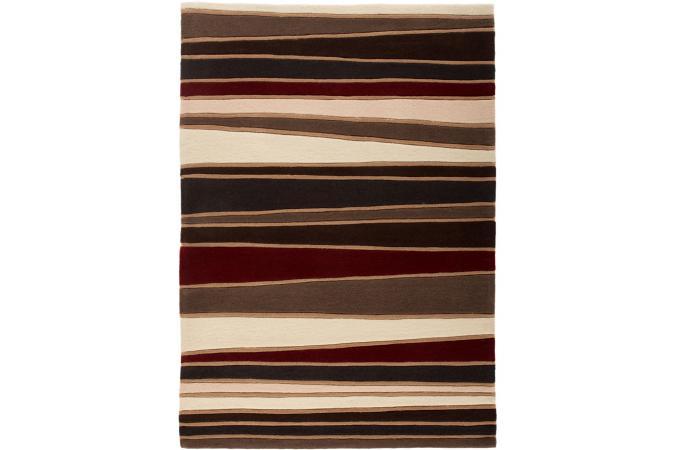 ... 100% acrylique TED 160X230 Chocolat et rouge - Tapis Design Pas Cher