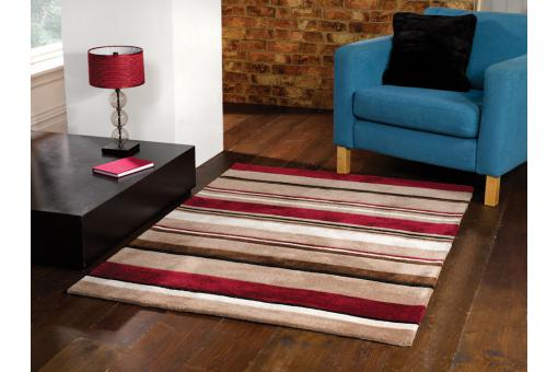 Tapis 100% coton supersoft CHARLES 80X150 Noir et rouge