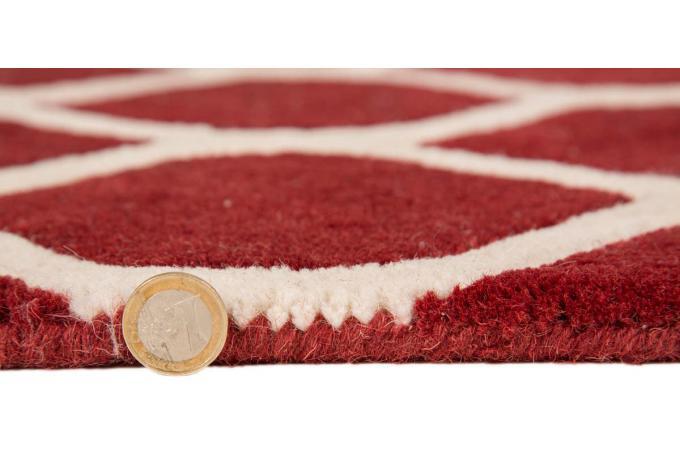tapis 100 laine finition manuelle iris 80x150 rouge tapis design pas cher. Black Bedroom Furniture Sets. Home Design Ideas