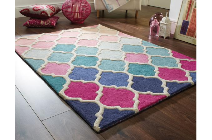 tapis 100 laine finition manuelle primavera 120x170 rose tapis design pas cher. Black Bedroom Furniture Sets. Home Design Ideas