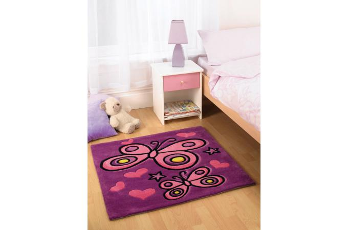 tapis acrylique et polyester 140gms papillon 90x90 violet tapis enfant pas cher. Black Bedroom Furniture Sets. Home Design Ideas