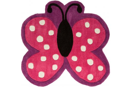 Tapis Acrylique et polyester 140gms POLKA BUTTERFLY 90X90
