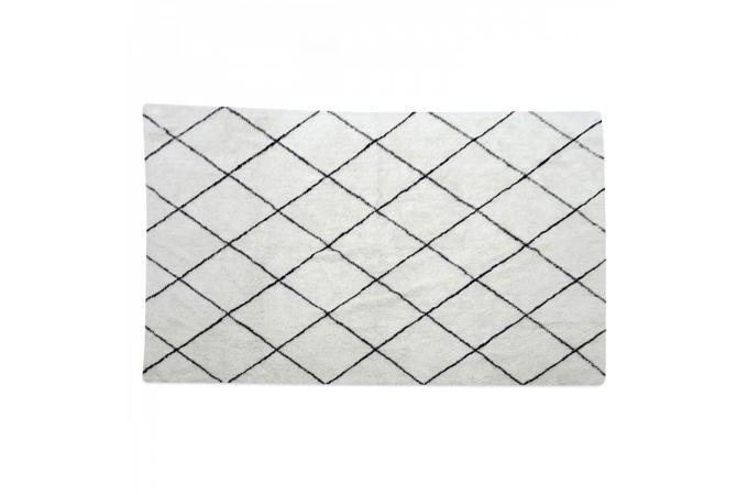 tapis berb re en coton noir et blanc 200x300cm ninon tapis design pas cher. Black Bedroom Furniture Sets. Home Design Ideas