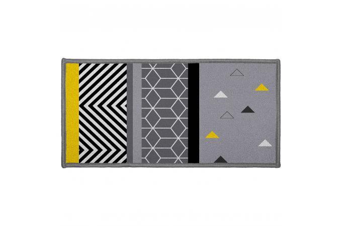 tapis rectangulaire jaune et noir impression g om trique. Black Bedroom Furniture Sets. Home Design Ideas