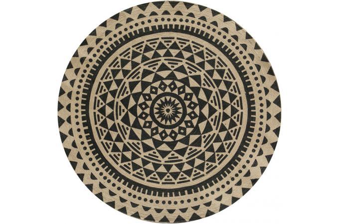 Tapis Rond O120cm Avec Imprime Ethnique En Jute Noir Timo Tapis