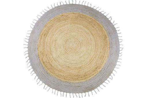 tapis rond bicolore en jute naturel d140 asha tapis rond pas cher. Black Bedroom Furniture Sets. Home Design Ideas