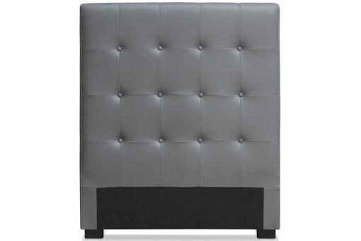 t te de lit 90 gris en simili yaren t te de lit pas cher. Black Bedroom Furniture Sets. Home Design Ideas