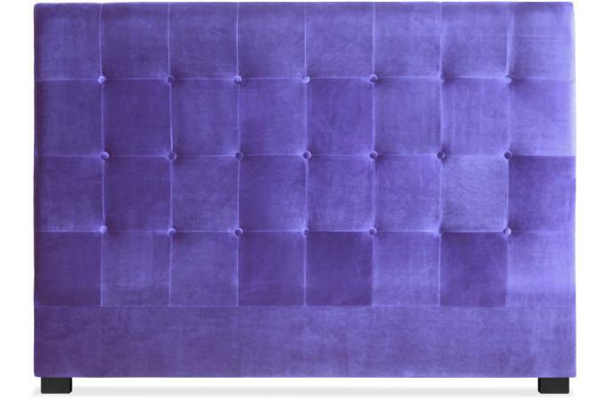 t te de lit capitonn e 160 cm velours violet paca t te de lit pas cher. Black Bedroom Furniture Sets. Home Design Ideas