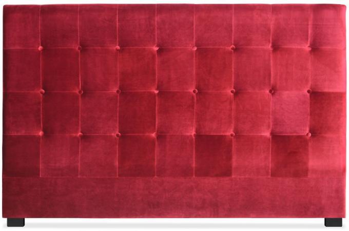 T te de lit capitonn e 180 cm velours rouge paca t te de lit pas cher - Tete de lit 180 cm pas cher ...