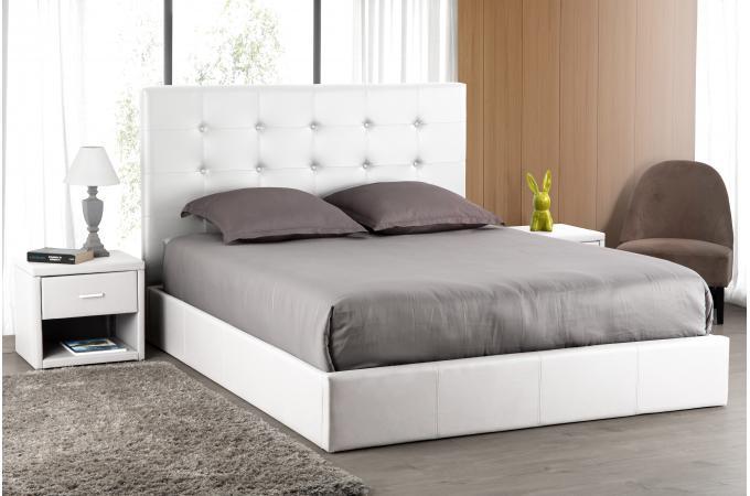 T te de lit capitonn e blanche 160x200 orlena t te de lit pas cher - Tete de lit blanche 160 ...