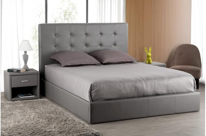 t te de lit capitonn e gris 140x190 orlena t te de lit. Black Bedroom Furniture Sets. Home Design Ideas