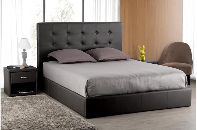 t te de lit capitonn e noire 180x200 orlena t te de lit. Black Bedroom Furniture Sets. Home Design Ideas
