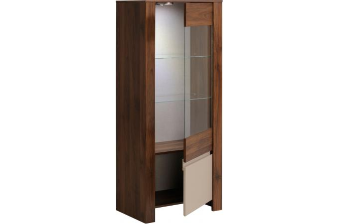 vitrine 1 porte noyer amazone meuble de rangement pas cher. Black Bedroom Furniture Sets. Home Design Ideas