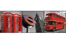 Triptyque Impression London Gris Et Rouge 3/20x20 AUSLAND - Tableau design rouge