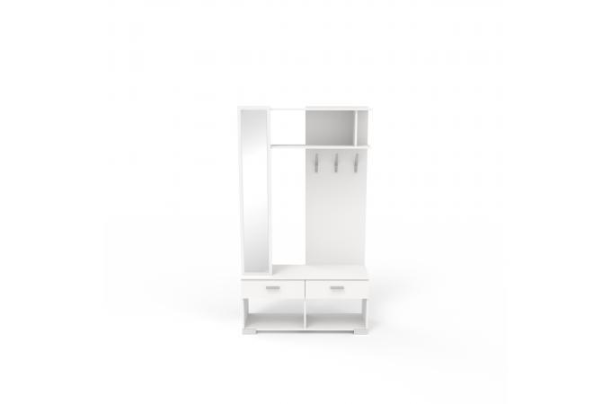 vestiaire avec miroir blanc nirvana meuble de rangement pas cher. Black Bedroom Furniture Sets. Home Design Ideas