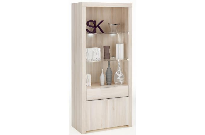 vitrine en verre bois lorenz meuble de rangement pas cher. Black Bedroom Furniture Sets. Home Design Ideas