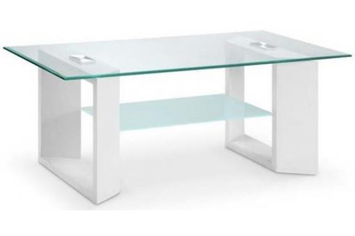 Table Basse Double Plateau 110x60x45 Blanc