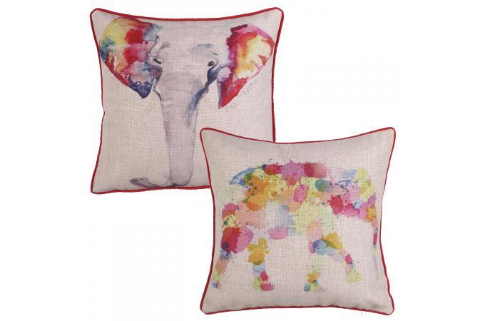 lot de 2 coussins el phants multicolores 45 x 45 cm. Black Bedroom Furniture Sets. Home Design Ideas