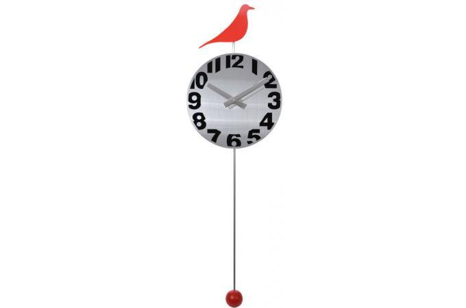Pendule blanche et rouge en fer forg birds horloge design pas cher for Pendule blanche design
