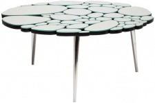 Table d'Appoint Table à café argentée en verre Ségolaine, deco design