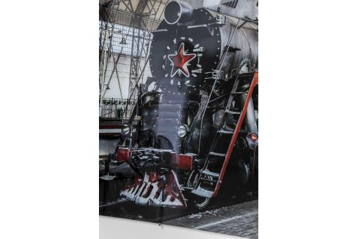 Tableau en verre Steam Train 100x150cm