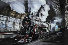 Tableau en verre Steam Train 100x150cm - Tableau abstrait multicolore