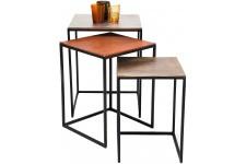 Table d'Appoint Lot de 3 tables Kare Design Loft Square Vintage, deco design
