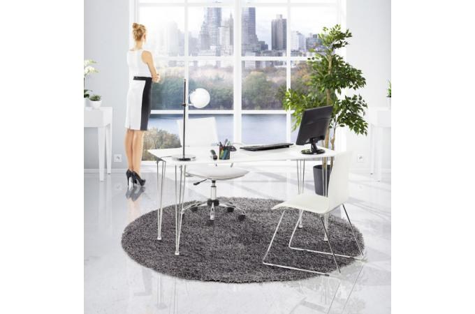 Chaise de bureau blanc et métal mobile fauteuil & chaise de bureau