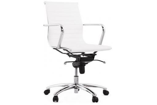 Chaise de bureau simili cuir blanc fauteuil chaise de for Chaise de bureau cuir blanc