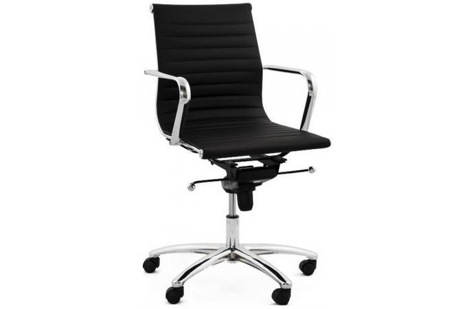 Chaise de bureau noir et acier mobile fauteuil & chaise de bureau