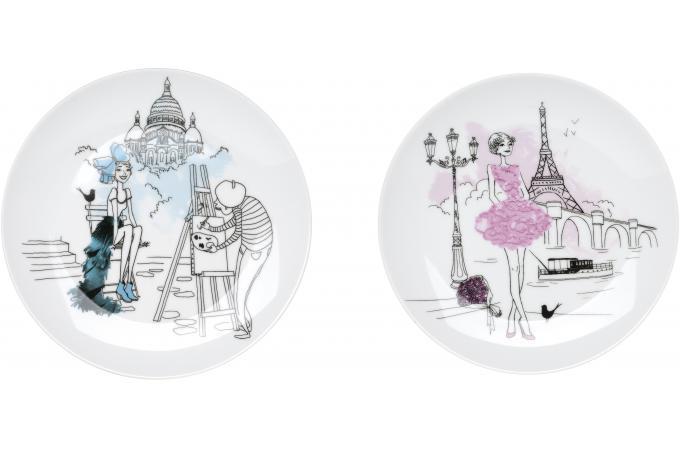 coffret 6 assiettes a dessert parisienne accessoires cuisine sali re gant pas cher. Black Bedroom Furniture Sets. Home Design Ideas