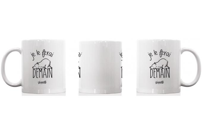 mug blanc je le ferai demain mug verre pas cher. Black Bedroom Furniture Sets. Home Design Ideas