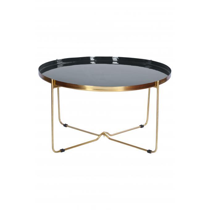 table basse en m tal dor plateau noir blandine table basse pas cher. Black Bedroom Furniture Sets. Home Design Ideas
