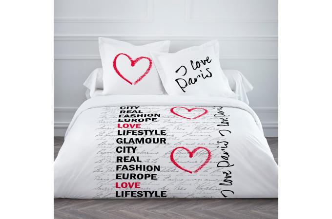 parure 2 pers coton today enjoy i love paris 220 x 240 cm housse de couette et taie d. Black Bedroom Furniture Sets. Home Design Ideas