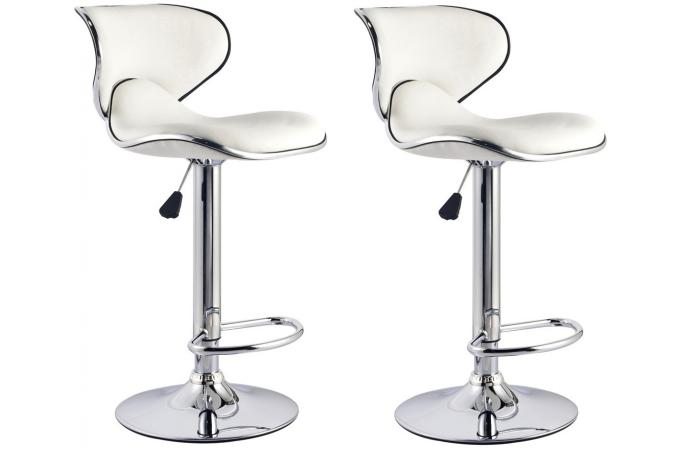 lot de 2 chaises de bar blanches cobra tabouret de bar pas cher. Black Bedroom Furniture Sets. Home Design Ideas