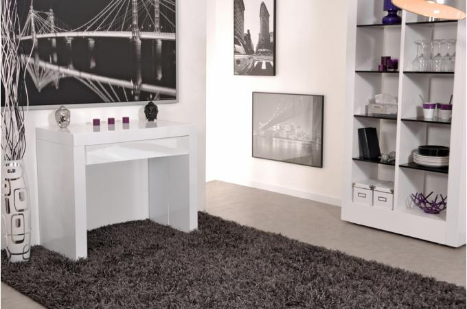 console avec 1 tiroir 3 allonges blanche table console pas cher. Black Bedroom Furniture Sets. Home Design Ideas