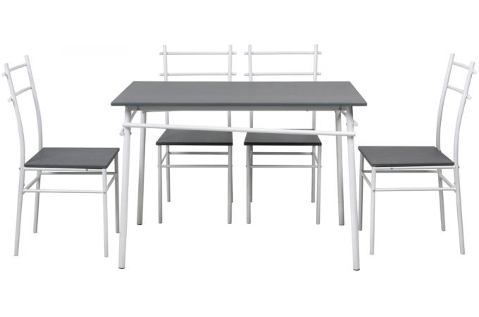 Ensemble table et 4 chaises pieds et plateau gris for Ensemble table et 4 chaises pas cher