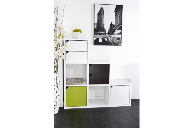 escalier avec rangements 6 cases blanc meuble de. Black Bedroom Furniture Sets. Home Design Ideas