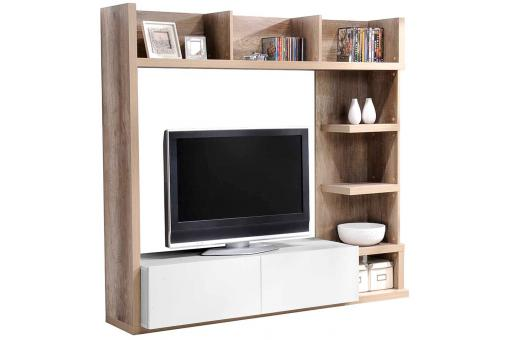 etag re 2 tiroirs ch ne griff blanche meuble tv pas cher. Black Bedroom Furniture Sets. Home Design Ideas