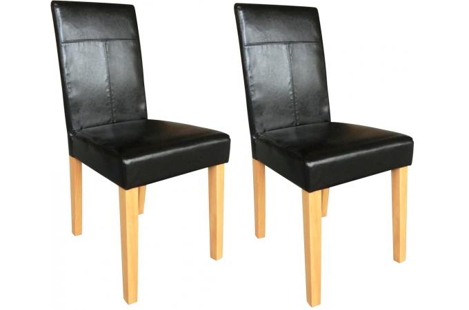 lot de 2 chaises imitation cuir expresso naturel chaise design pas cher. Black Bedroom Furniture Sets. Home Design Ideas