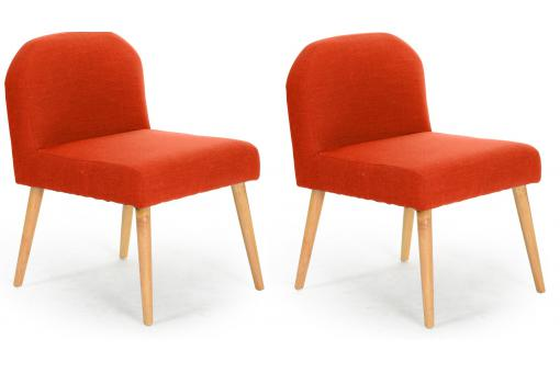 Lot de 2 Fauteuils Contemporains Orange EGERIAL