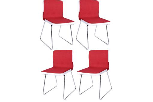 Lot de 4 chaises pied Chromé assise Blanc Rouge